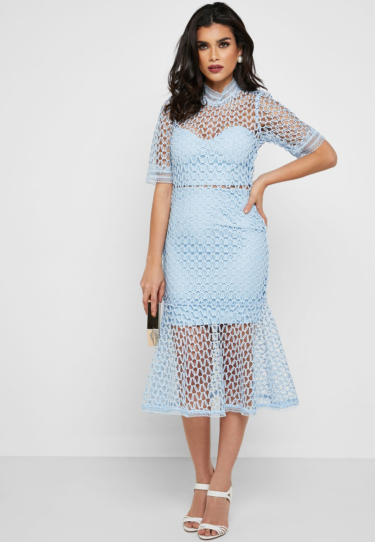 High Neck Mesh Fishtail Midi Dress