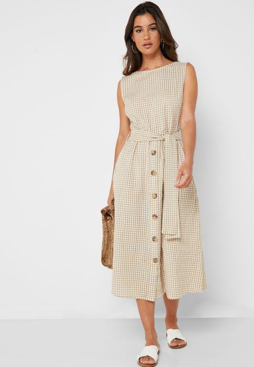 Button Detail Checked Dress