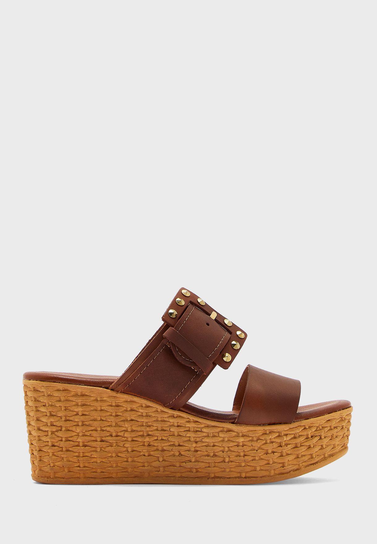 Buckle Detail Mid Heel Wedge Sandals