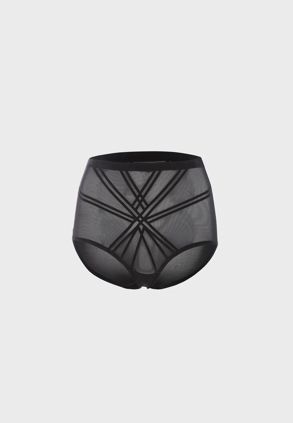 High Waist Mesh Detail Shorts