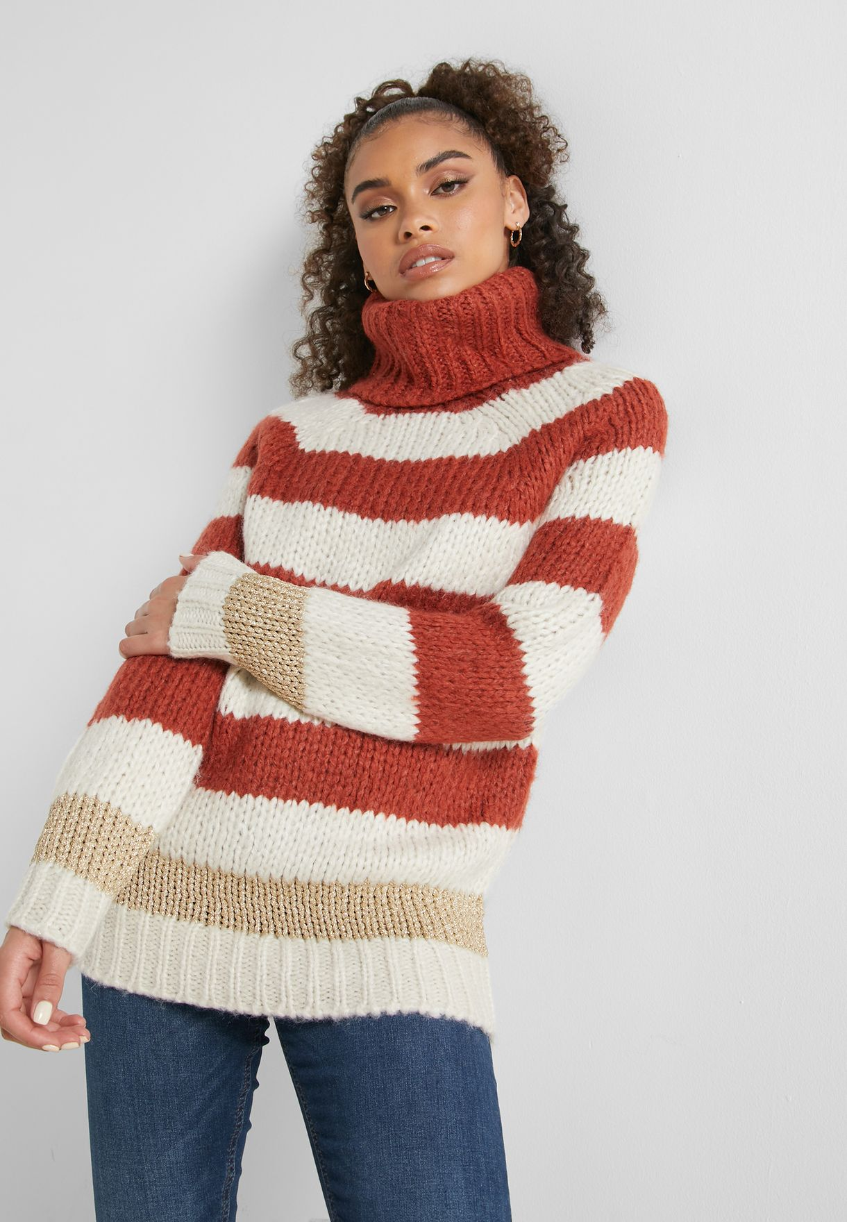 Roll Neck Striped Knitted Sweater
