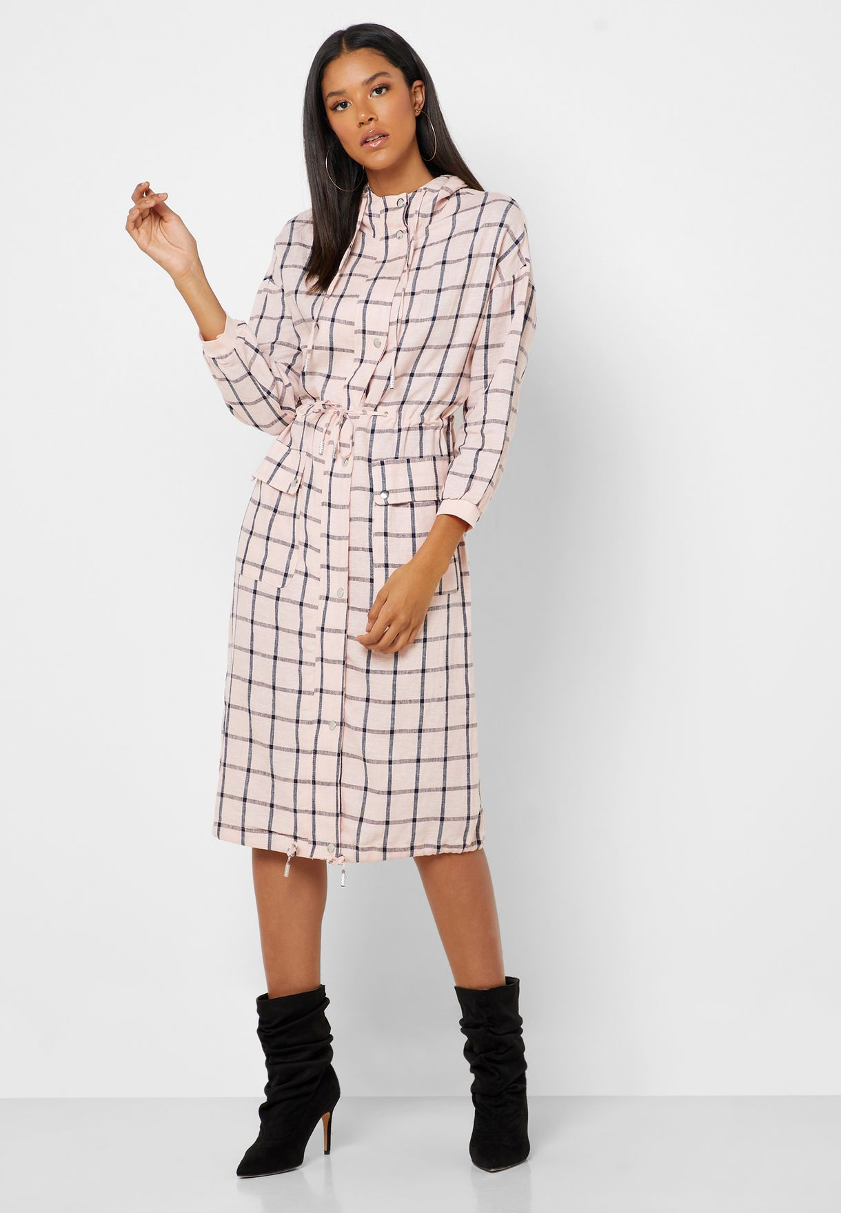 Shirt Dress with Long Sleeves and Hood