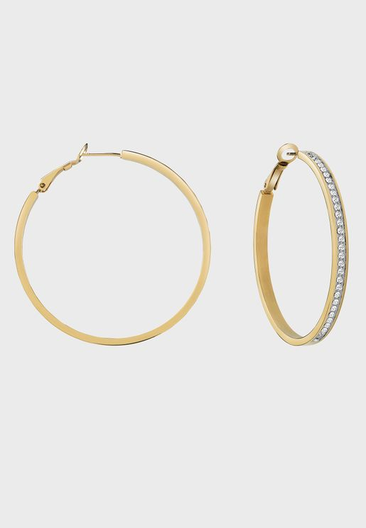 Front Pave Hoops Earrings