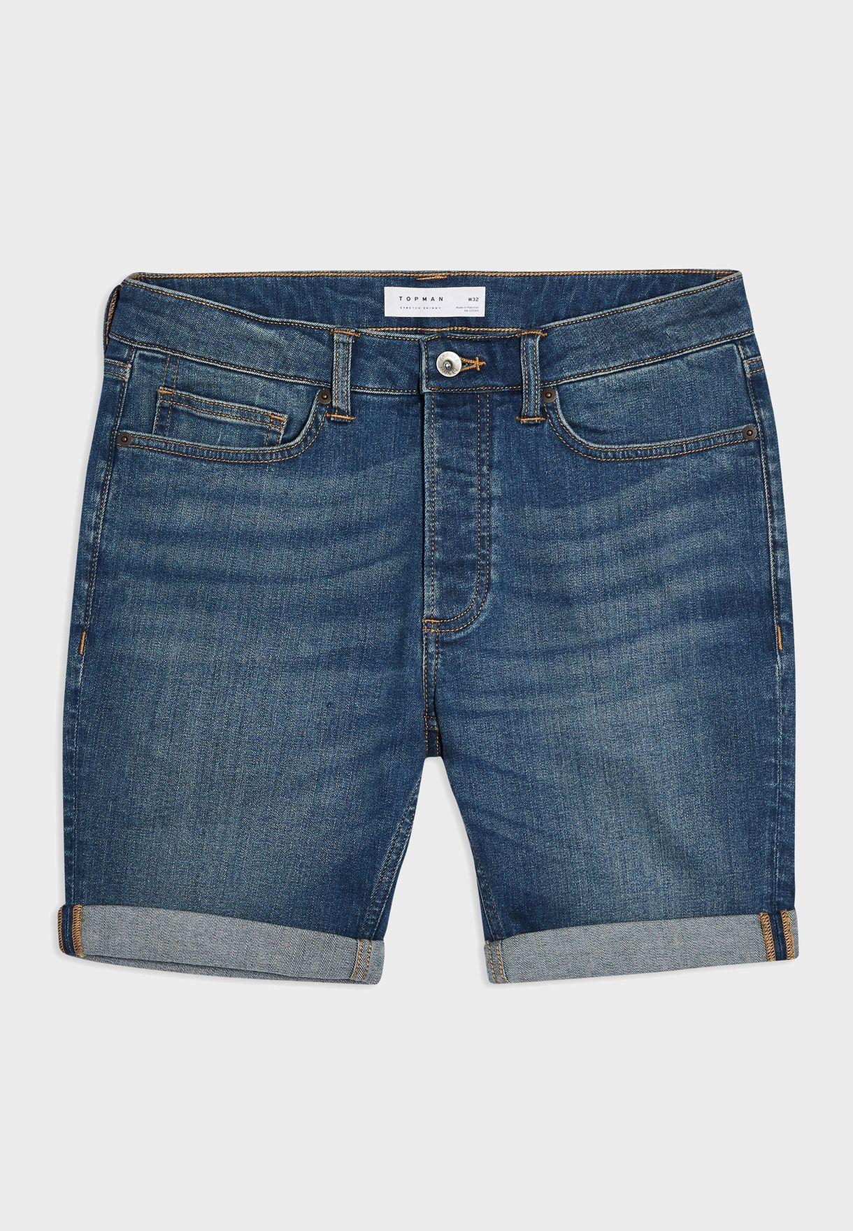 Denim Roll Hem Shorts