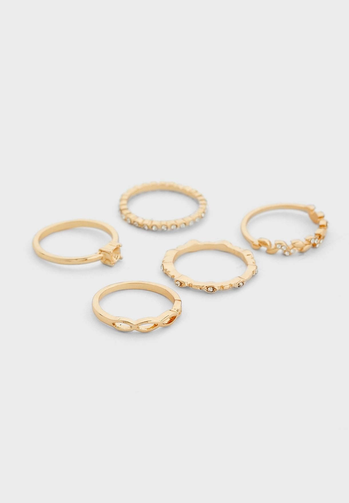 Pack Of 5 Leaf And Chain Rings