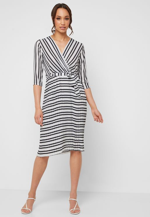 Striped Tiered Mini Dress