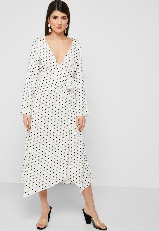 Polka Dot Wrap Front Midi Dress