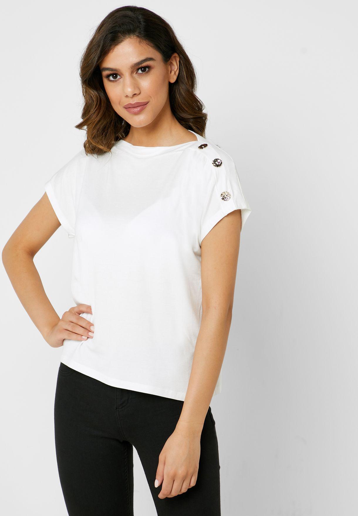 Boat Neck Button Shoulder T-Shirt