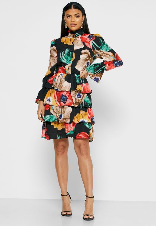 Floral Print Tiered Shirt Mini Dress