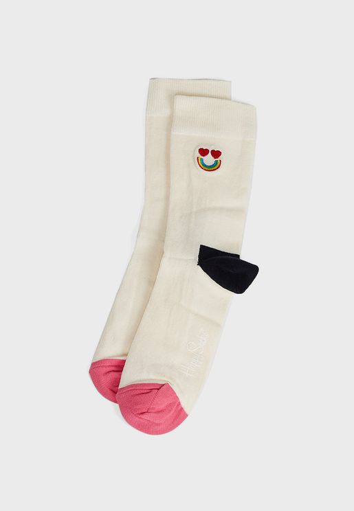 Embroidery Happy Rainbow Crew Socks