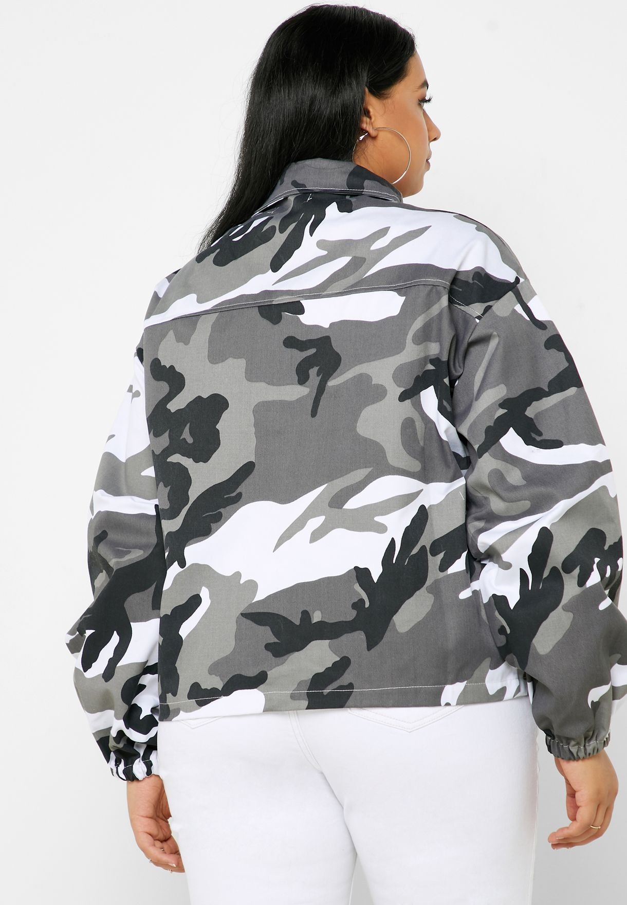 Pocket Detail Camo Print Jacket