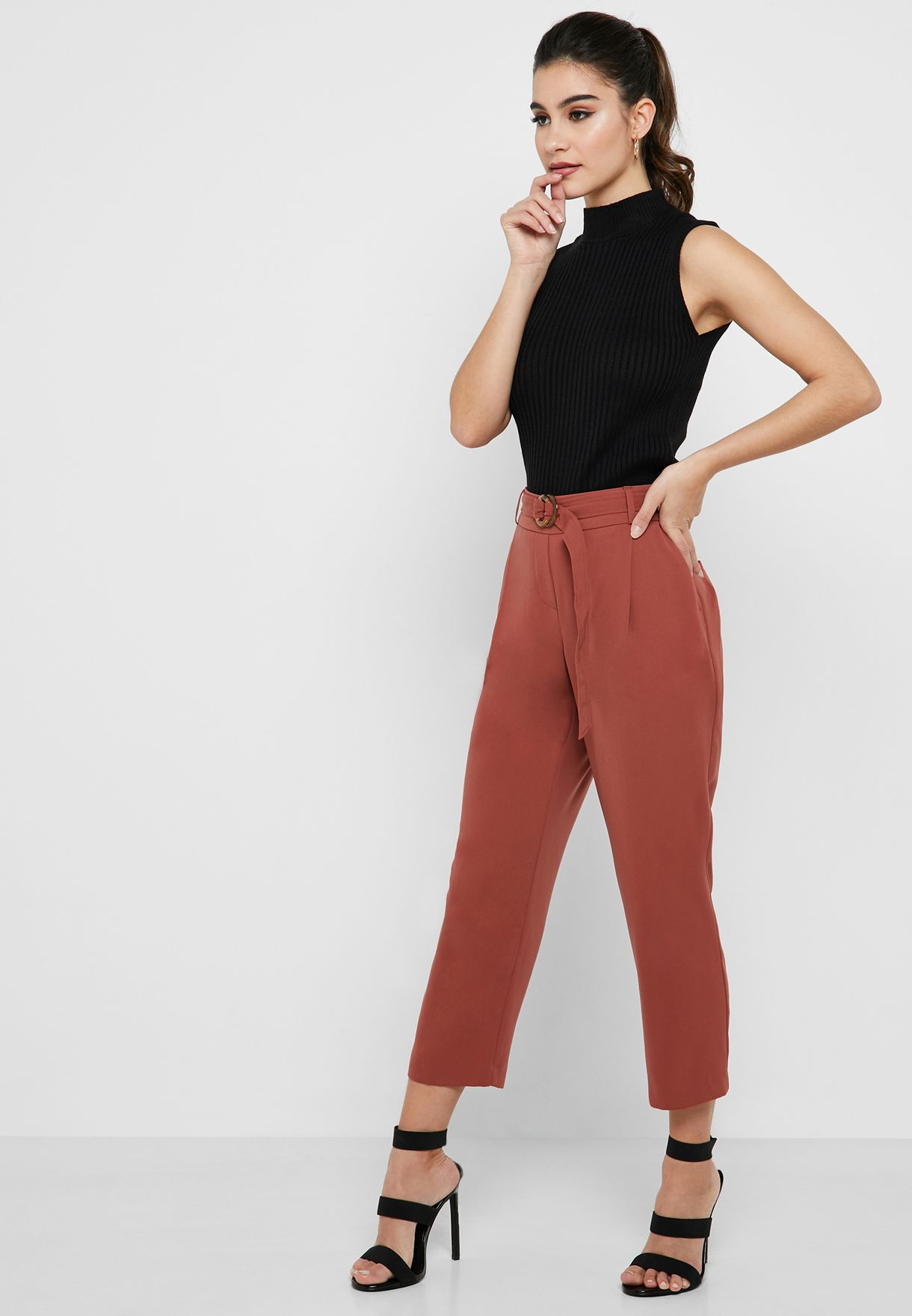 Horn Buckle Tapered Leg Pants
