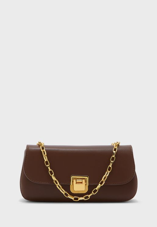 Chain Strap Baguette Bag With Clasp