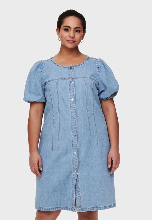 Puff Sleeve Button Down Dress