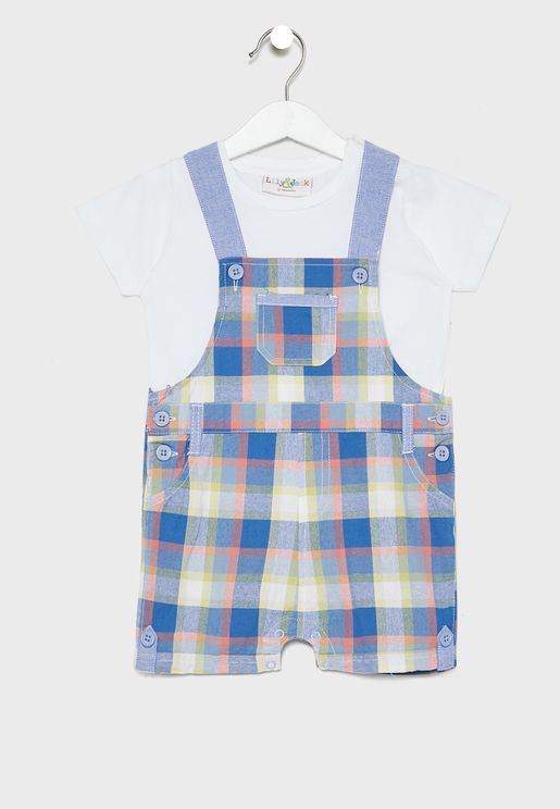 Infant Essential T-Shirt + Checked Dungaree Set