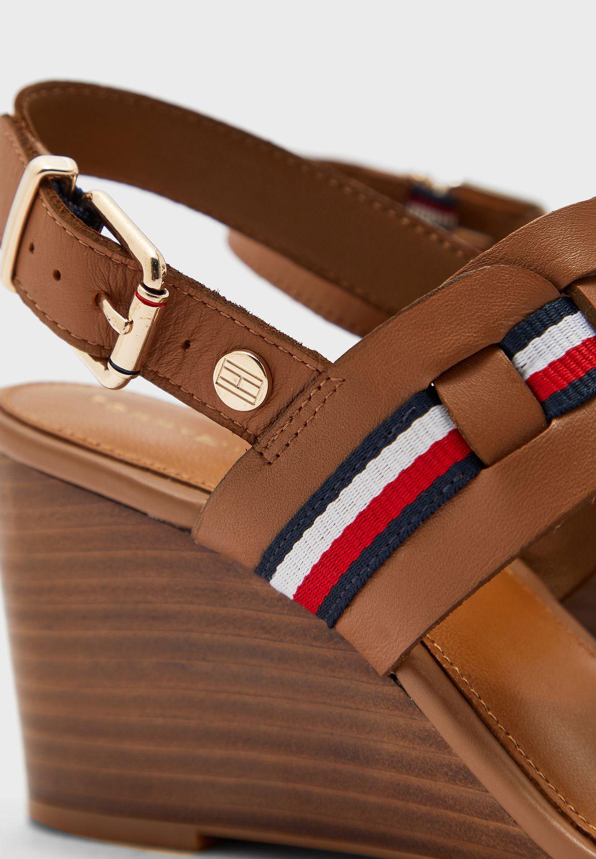 Interlace Mid Heel Wedge Sandals