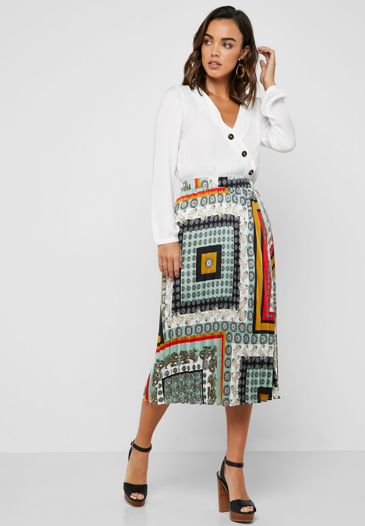 061f733959 Shop Vila prints Printed Pleated Skirt 14053746 for Women in UAE -  71712AT24PPP