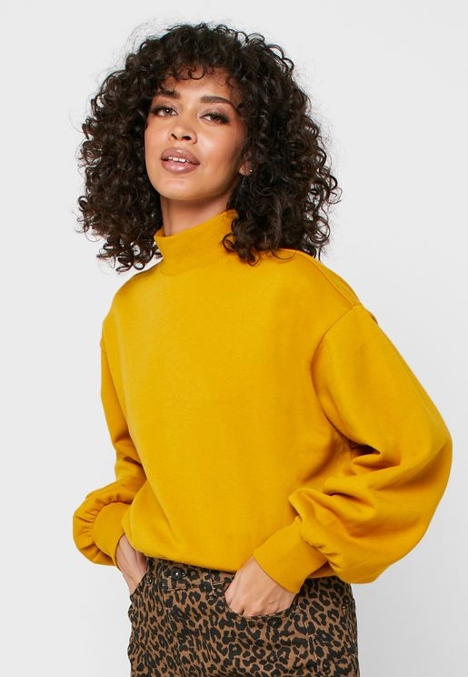 High Neck Puffed Sleeve Sweatshirt