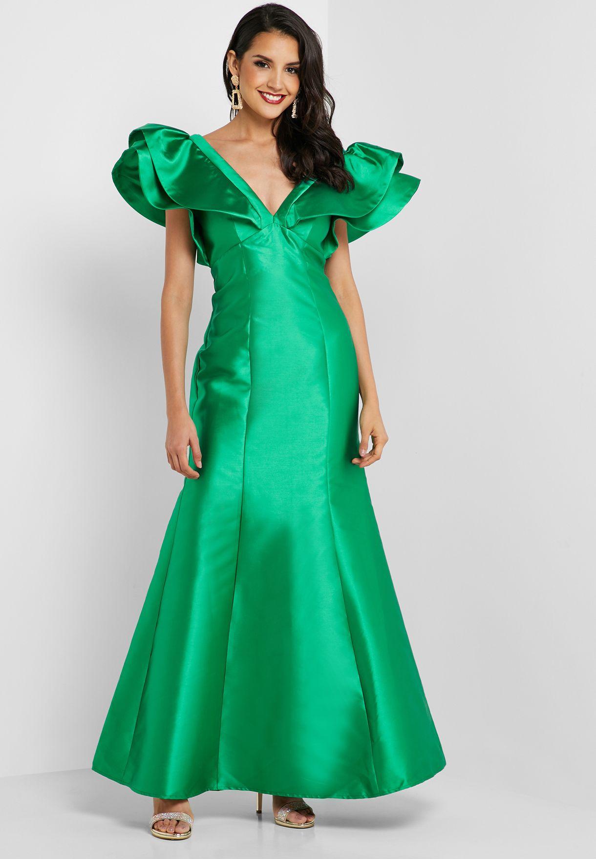Layered Sleeve Plunge Dress