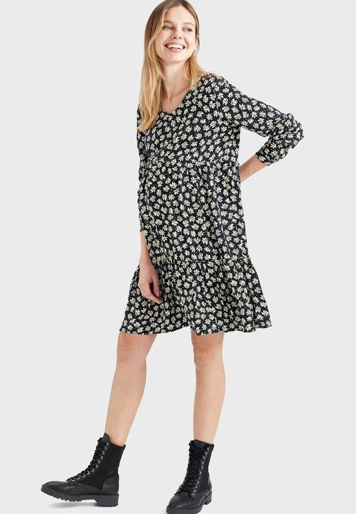 Printed Mini Tired Dress