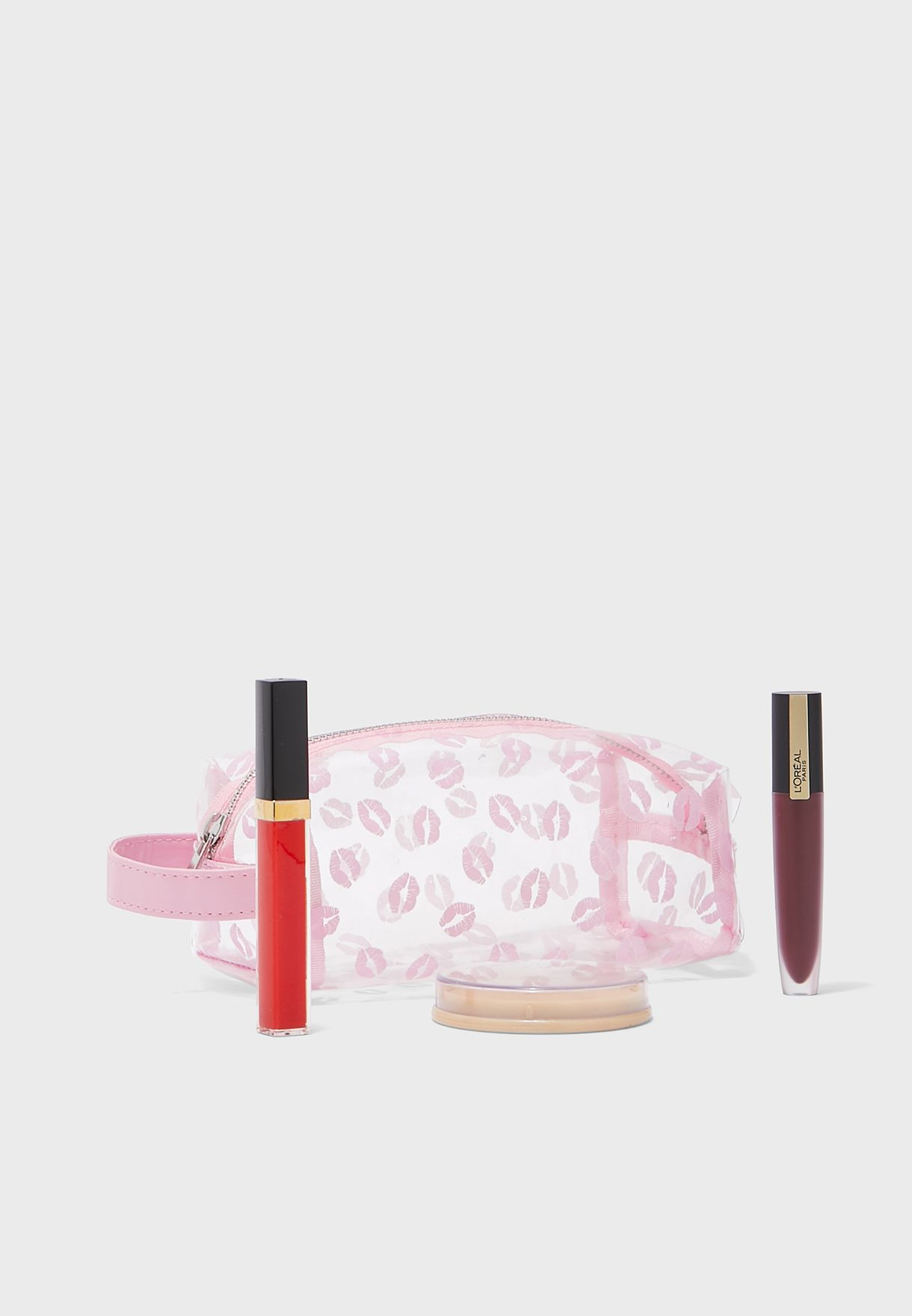 Kiss And Make Up, With Glitter Lips Cosmetic Bag