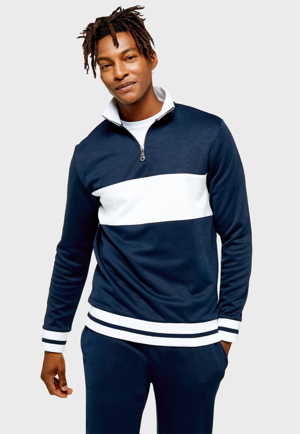 Color Block Half Zip Sweatshirt