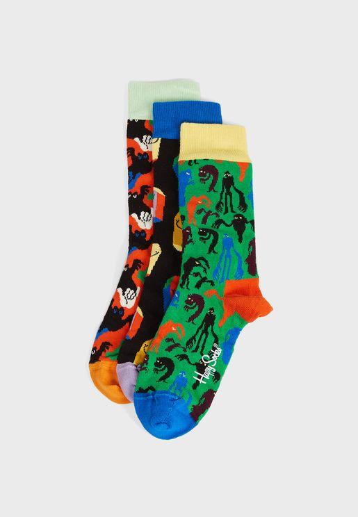 3 Pack Halloween Crew Socks