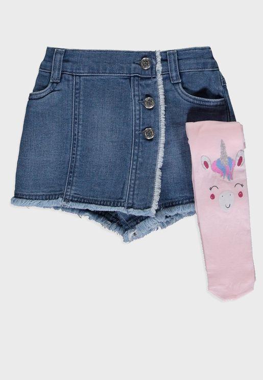 Infant Button Detail Skirt