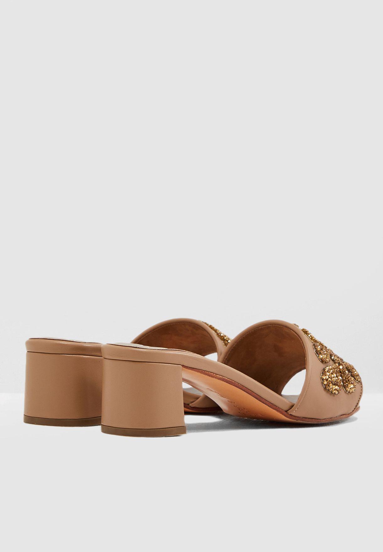Ersillia Block Heel Sandal - Beige