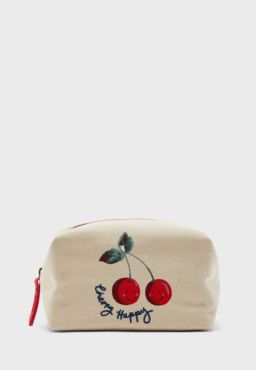 Cherry Print Cosmetic Bag