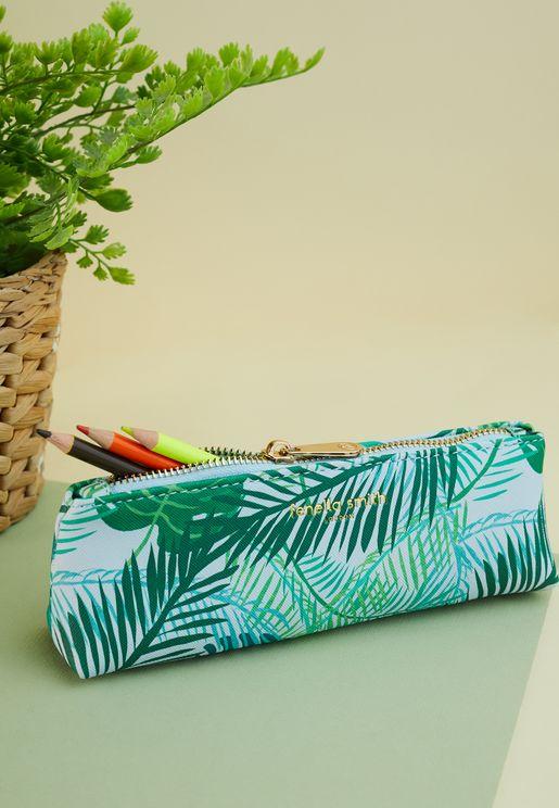 Green Palm Vegan Leather Pencil Case