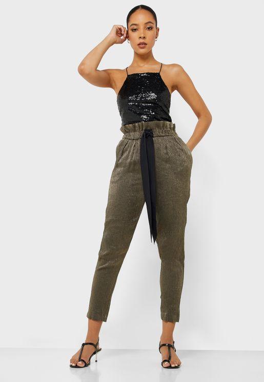 Paperbag Waist Shimmer Pants