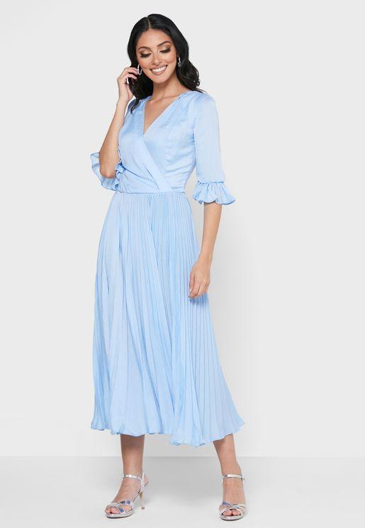 Slik Pleated Dress