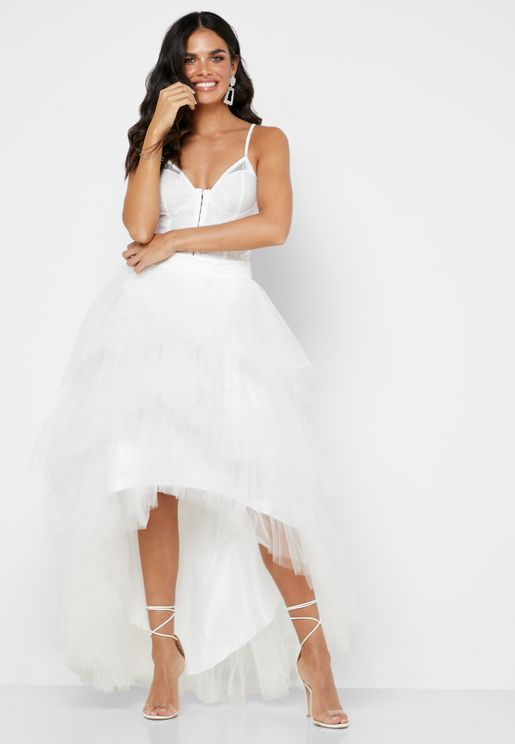 Tiered High Low Tulle Skirt