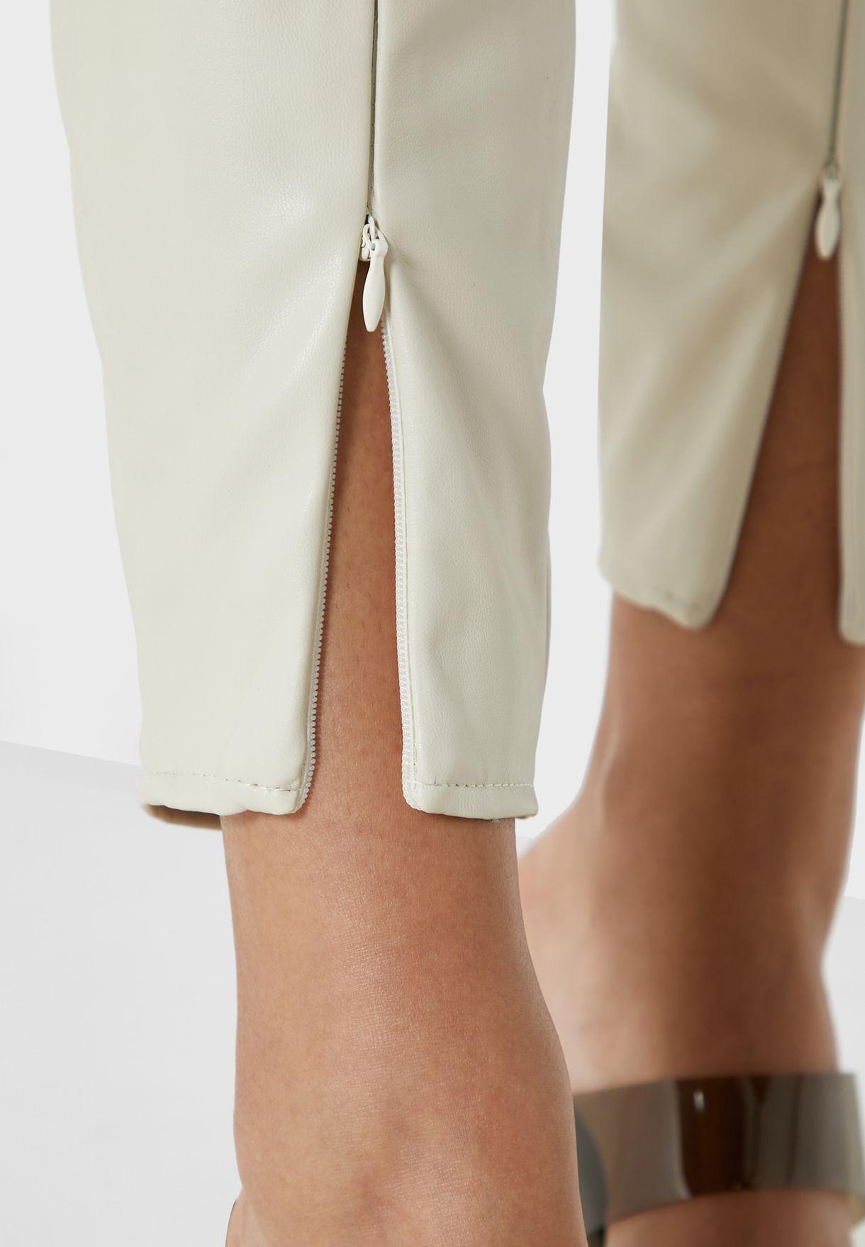 Faux Leather Split Hem Leggings