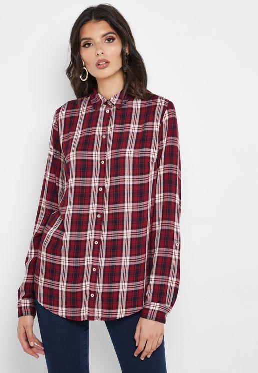 قميص كاروهات بازرار