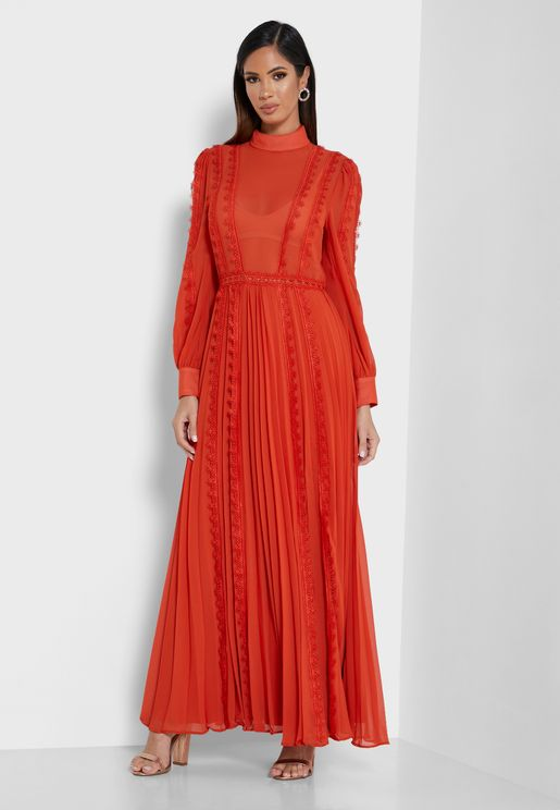 High Neck Pleated Maxi Dress