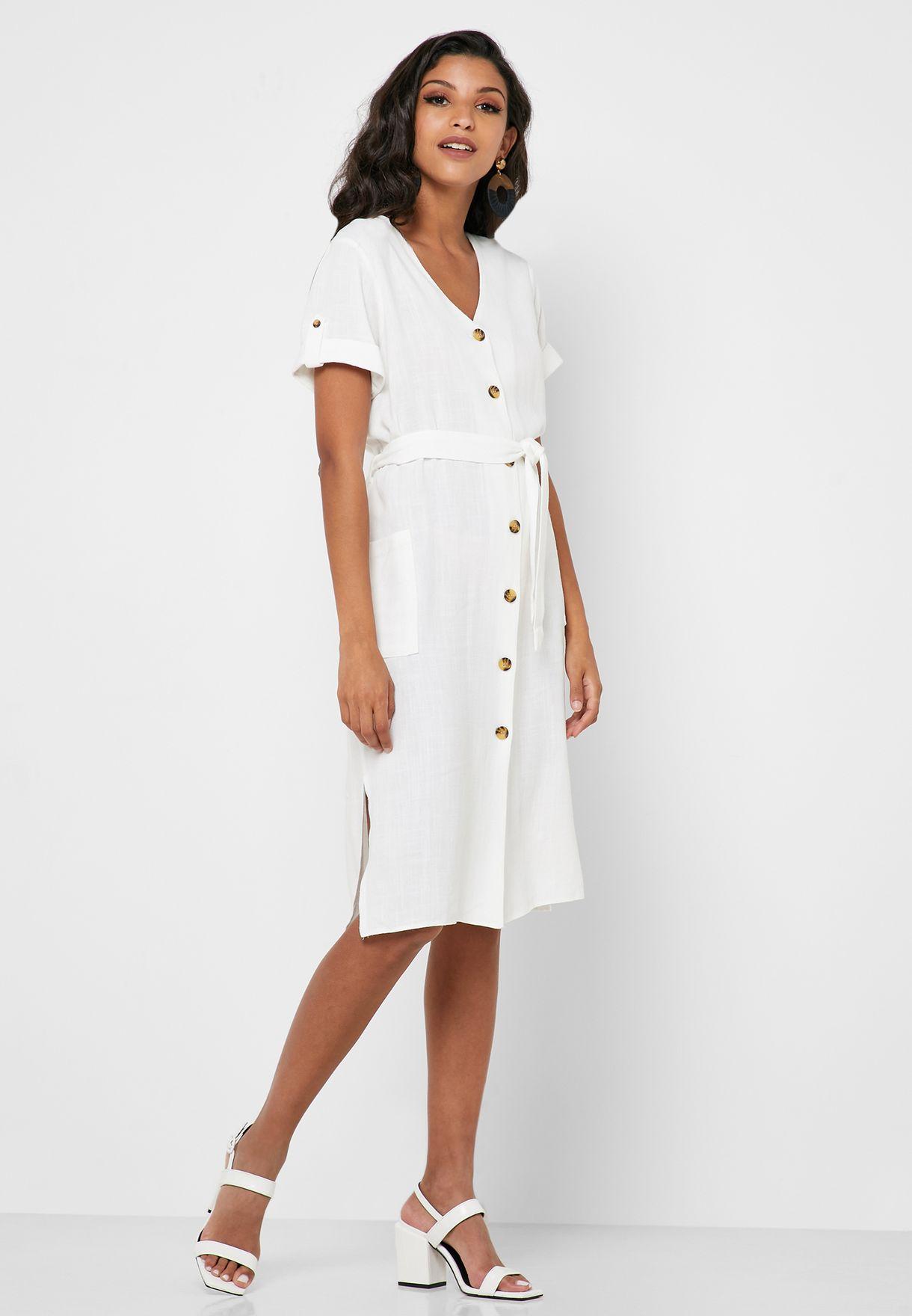 Linen Button Through Shirt Dress