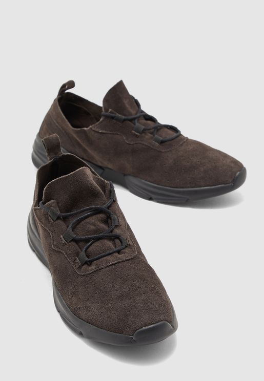 Suede Perforated Sneakers