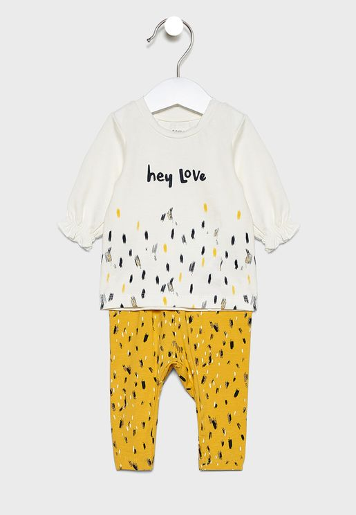 Infant Slogan T-Shirt + Printed Leggings Set