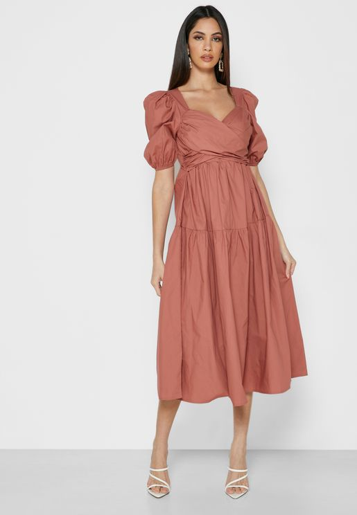 Puff Sleeve Surplice Dress