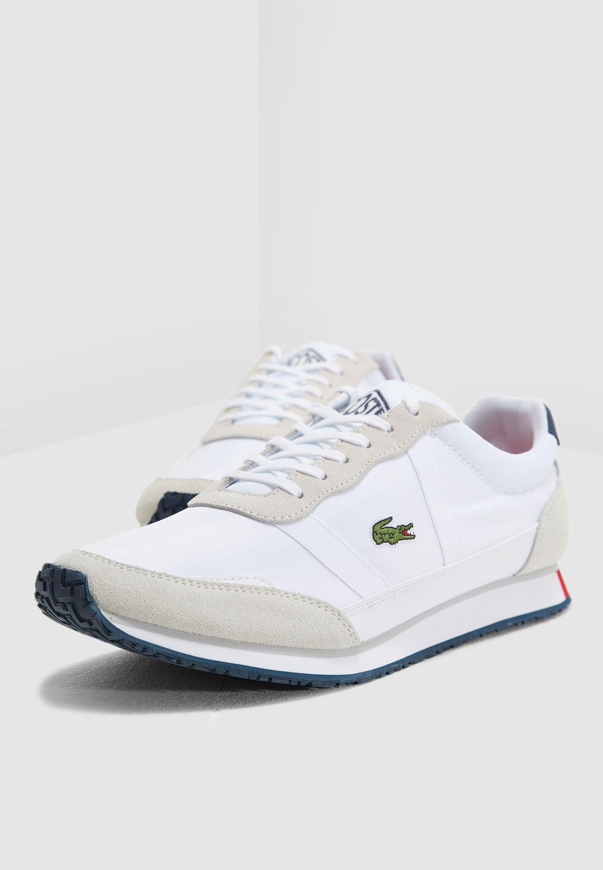 2a50a6d34b5e Shop Lacoste white Partner Sneakers 37SMA0043-407 for Men in Saudi ...