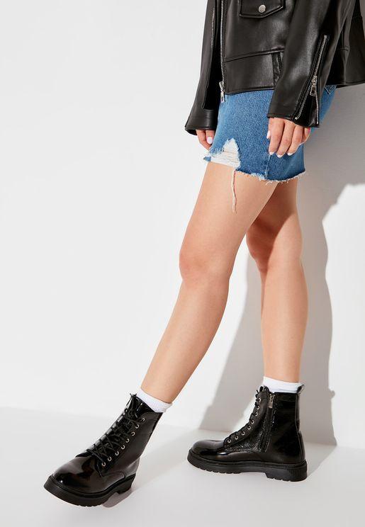 Powder Crease Patent Low Heel Boot