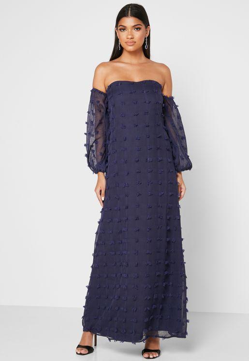 فستان شبك بفرو