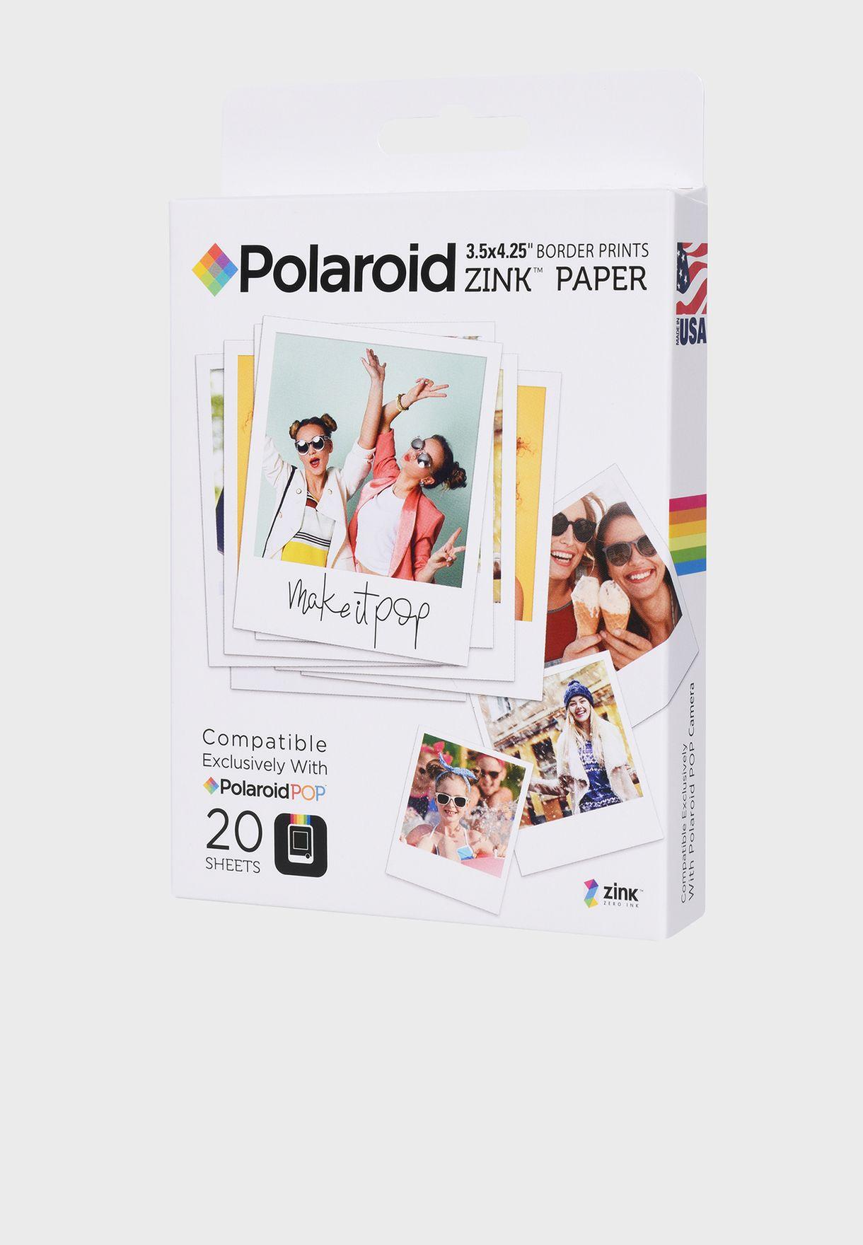 """Zink 3.5x4.25"""" Film 20 Pk for Polaroid POP"""