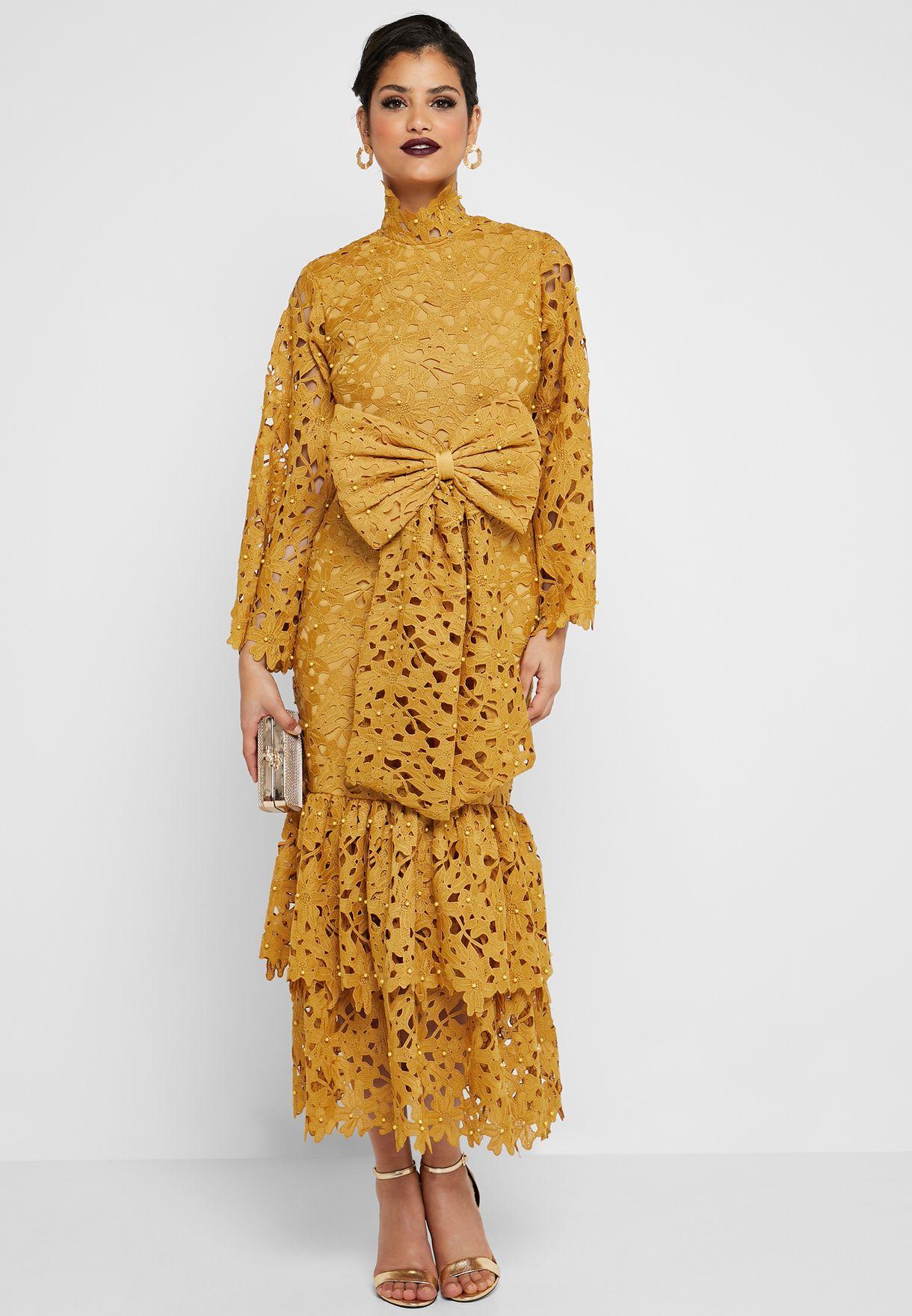 Bow Detail Tiered Crochet Dress