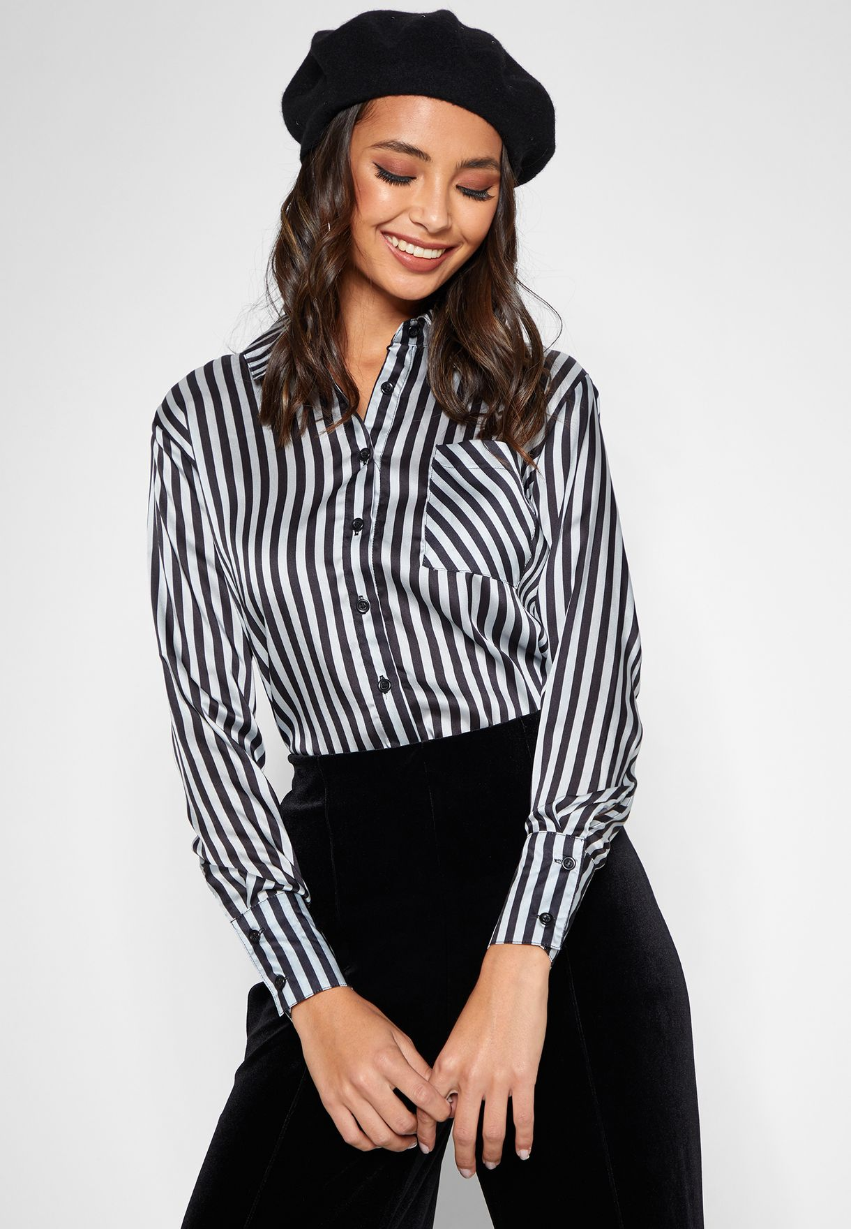5358a70ac5e1 Shop NA-KD stripes Satin Striped Shirt 1100-001355 for Women in UAE ...