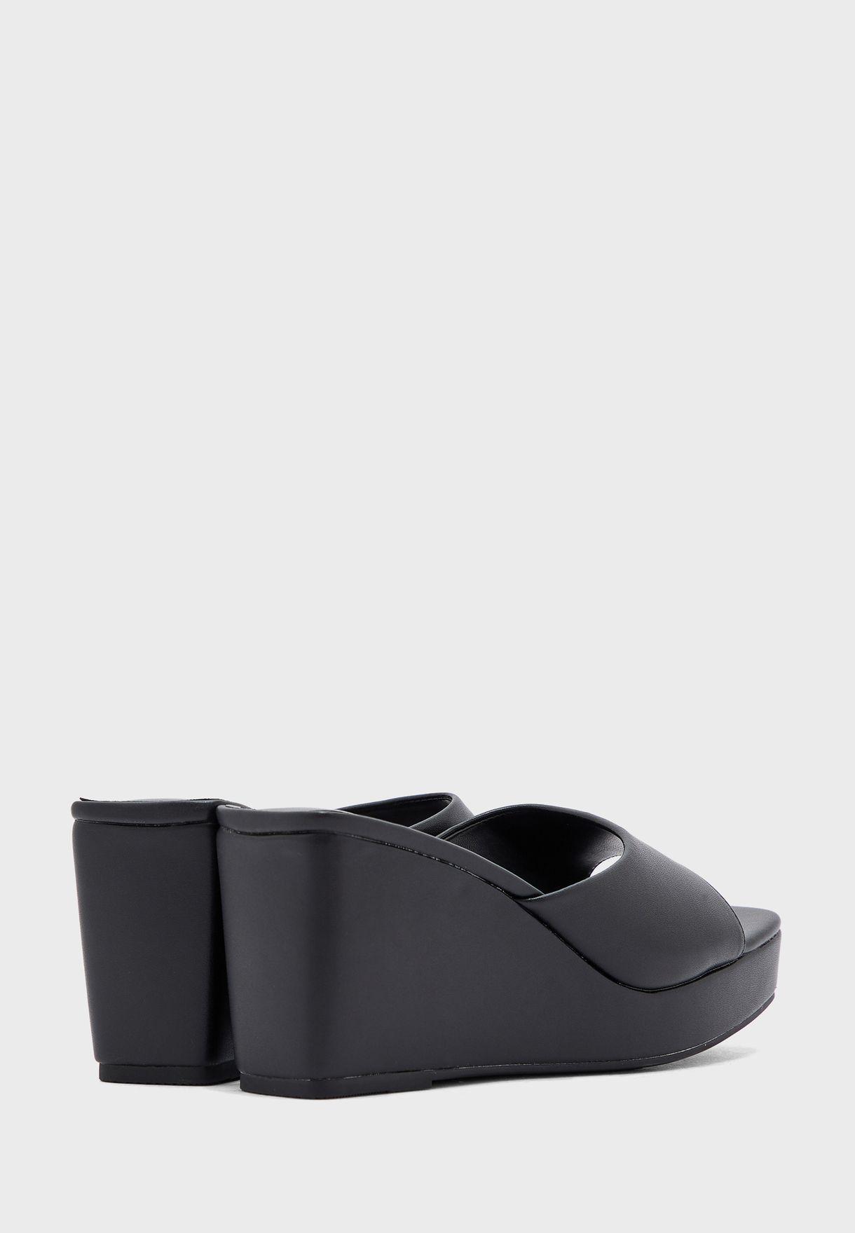 Square Toe PU Wedge Sandal