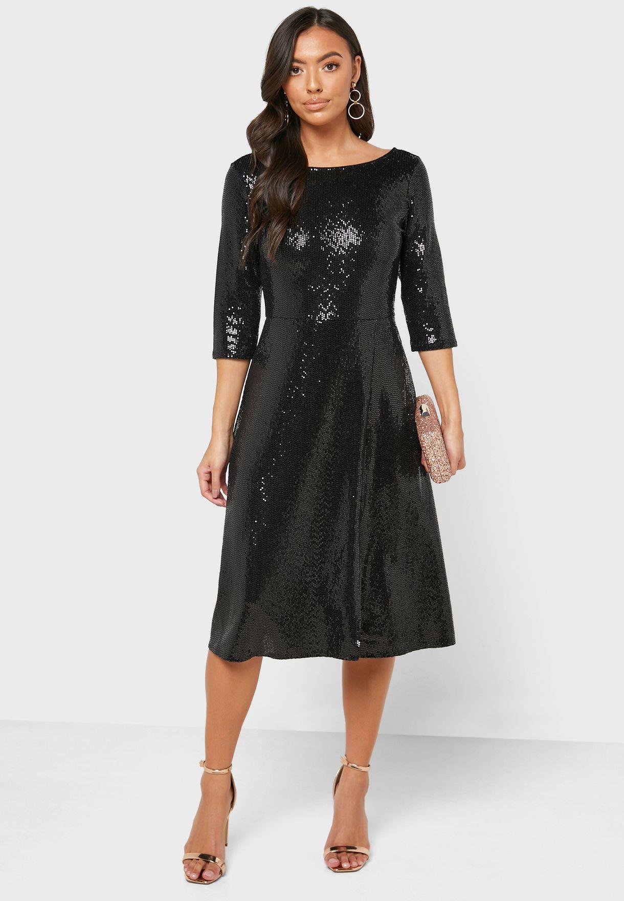 Round Neck Sequin Dress