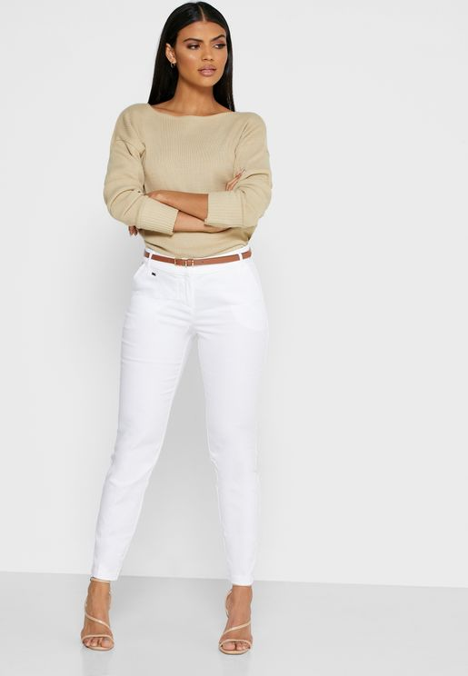 Ankle Grazer Belted Pants